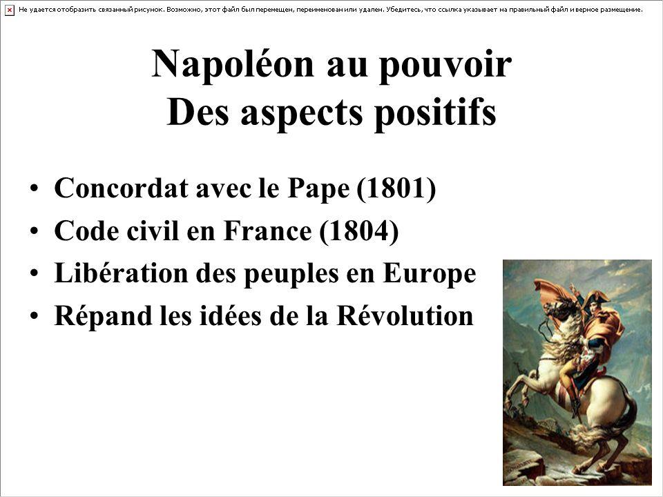 Napoléon au pouvoir Des aspects positifs Concordat avec le Pape (1801) Code civil en France (1804) Libération des peuples en Europe Répand les idées d