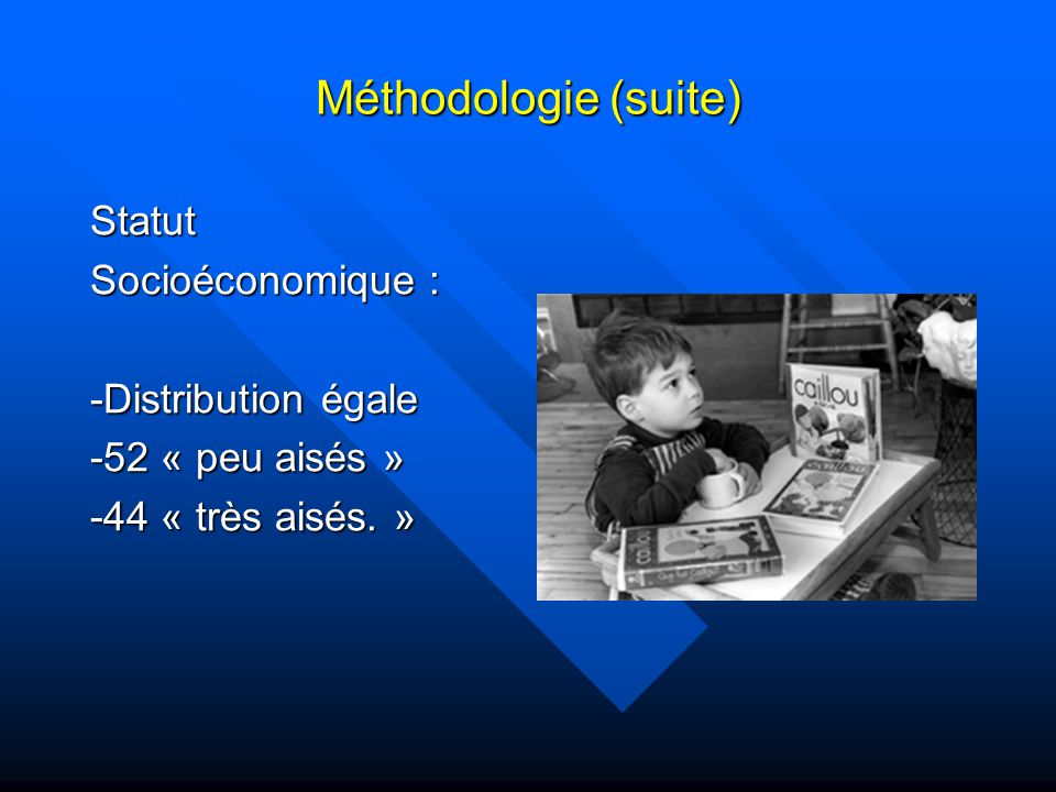 Méthodologie (suite) Statut Socioéconomique : -Distribution égale -52 « peu aisés » -44 « très aisés.