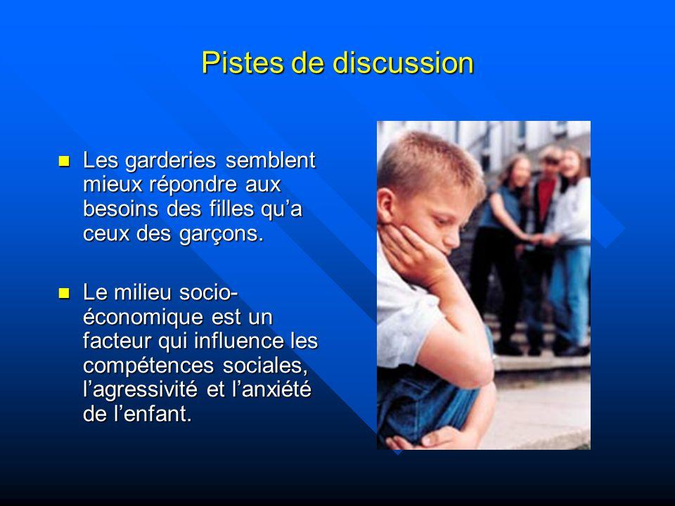 Pistes de discussion Les garderies semblent mieux répondre aux besoins des filles qua ceux des garçons.
