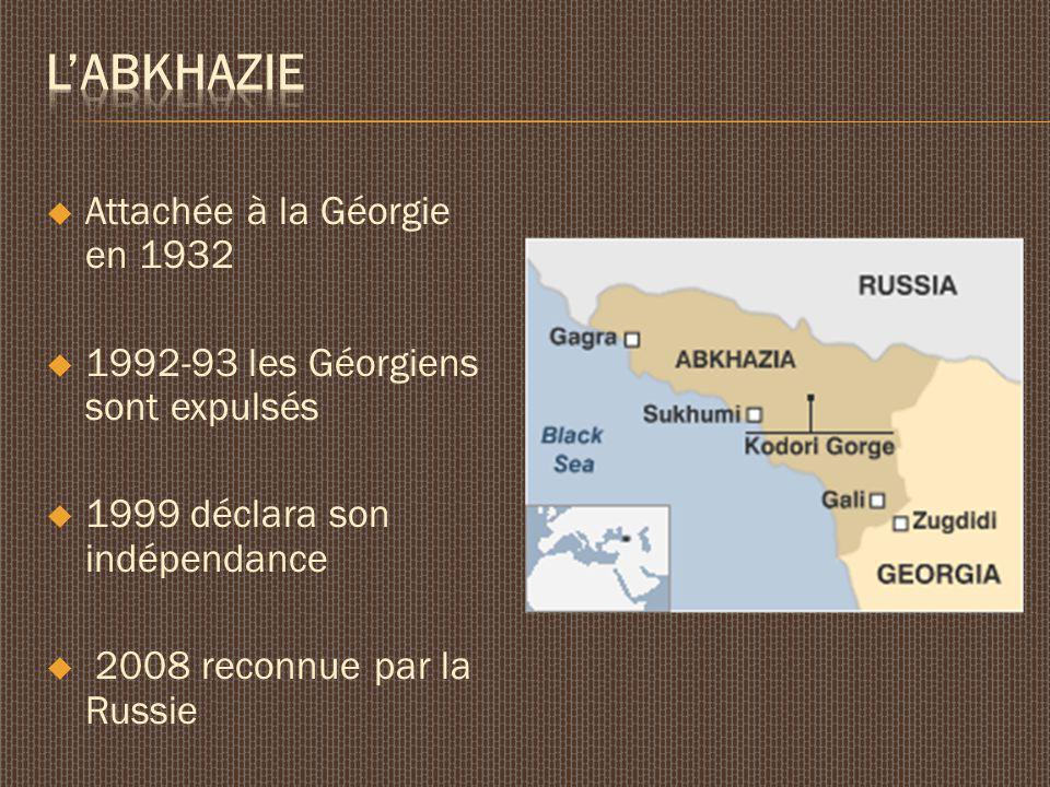 Attachée à la Géorgie en 1932 1992-93 les Géorgiens sont expulsés 1999 déclara son indépendance 2008 reconnue par la Russie