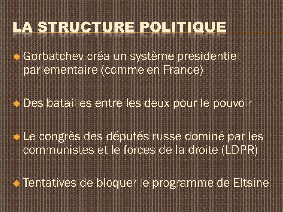Gorbatchev créa un système presidentiel – parlementaire (comme en France) Des batailles entre les deux pour le pouvoir Le congrès des députés russe dominé par les communistes et le forces de la droite (LDPR) Tentatives de bloquer le programme de Eltsine