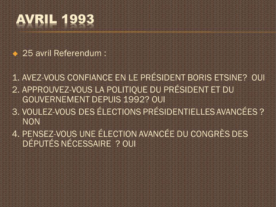 25 avril Referendum : 1. AVEZ-VOUS CONFIANCE EN LE PRÉSIDENT BORIS ETSINE? OUI 2. APPROUVEZ-VOUS LA POLITIQUE DU PRÉSIDENT ET DU GOUVERNEMENT DEPUIS 1