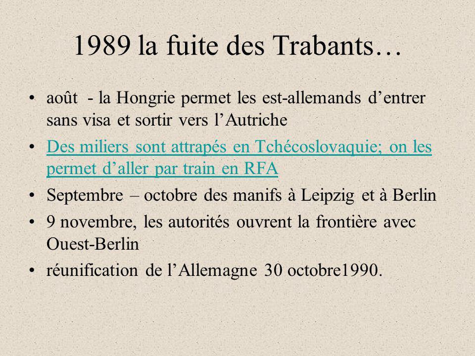 1989 la fuite des Trabants… août - la Hongrie permet les est-allemands dentrer sans visa et sortir vers lAutriche Des miliers sont attrapés en Tchécos