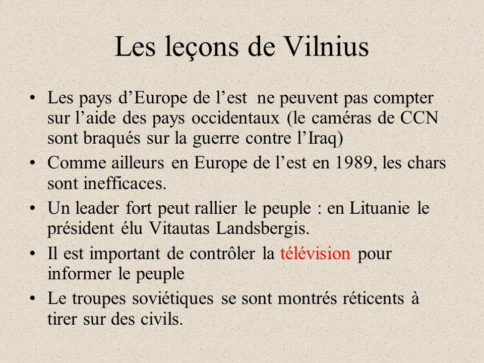 Les leçons de Vilnius Les pays dEurope de lest ne peuvent pas compter sur laide des pays occidentaux (le caméras de CCN sont braqués sur la guerre con