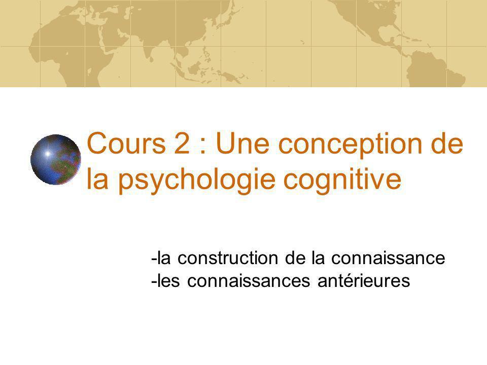 Cours 2 : Une conception de la psychologie cognitive -la construction de la connaissance -les connaissances antérieures
