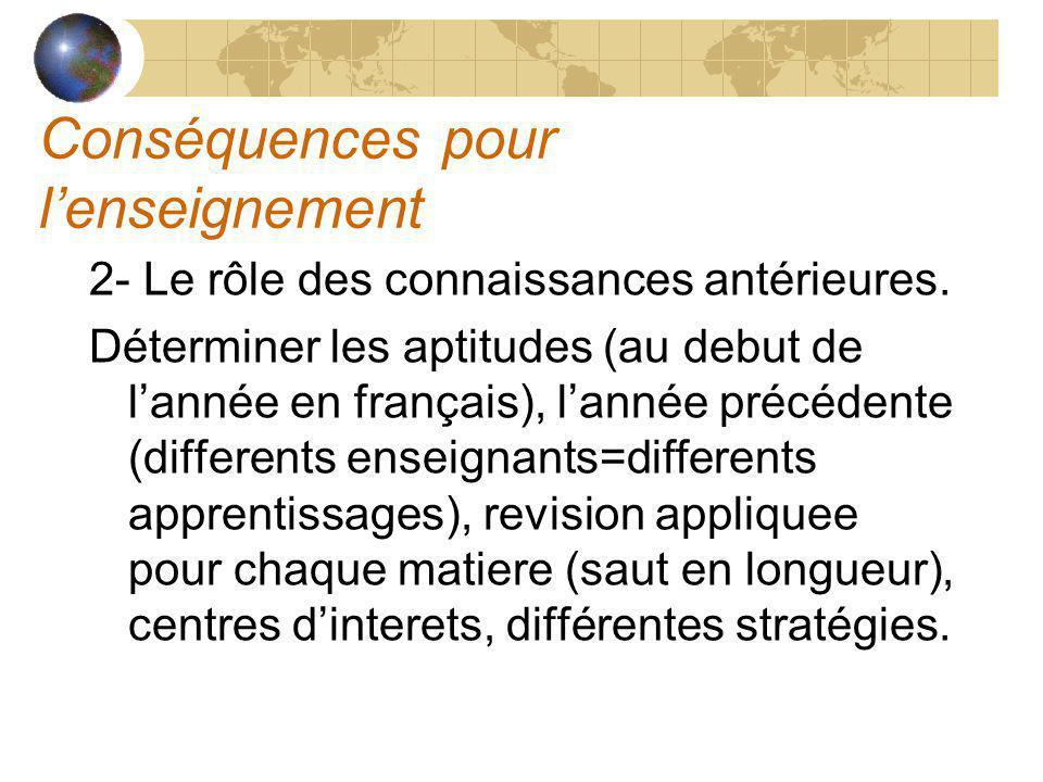 Conséquences pour lenseignement 2- Le rôle des connaissances antérieures. Déterminer les aptitudes (au debut de lannée en français), lannée précédente