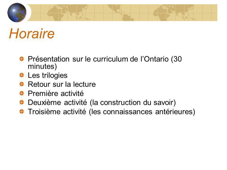 Horaire Présentation sur le curriculum de lOntario (30 minutes) Les trilogies Retour sur la lecture Première activité Deuxième activité (la construction du savoir) Troisième activité (les connaissances antérieures)