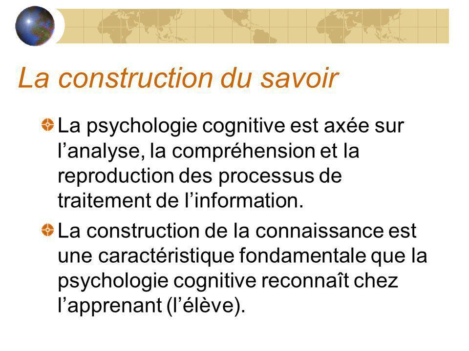 La construction du savoir La psychologie cognitive est axée sur lanalyse, la compréhension et la reproduction des processus de traitement de linformation.