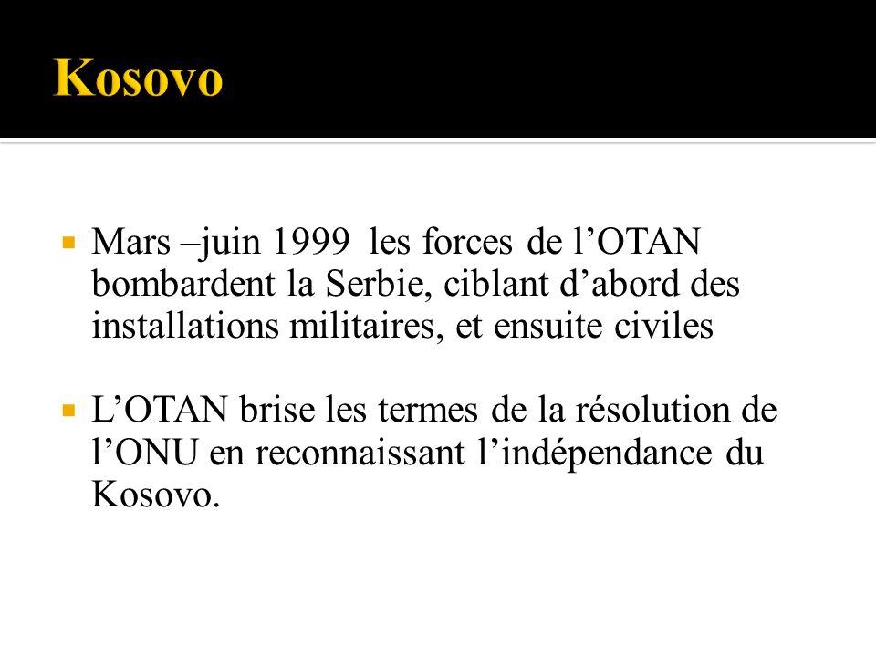 Mars –juin 1999 les forces de lOTAN bombardent la Serbie, ciblant dabord des installations militaires, et ensuite civiles LOTAN brise les termes de la résolution de lONU en reconnaissant lindépendance du Kosovo.