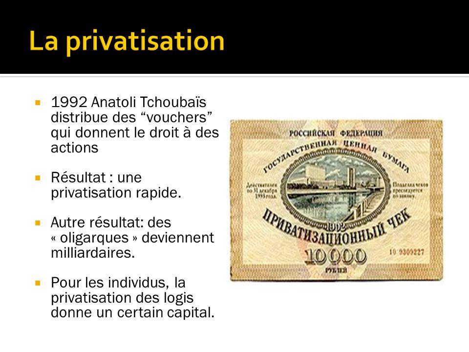 1992 Anatoli Tchoubaïs distribue des vouchers qui donnent le droit à des actions Résultat : une privatisation rapide.