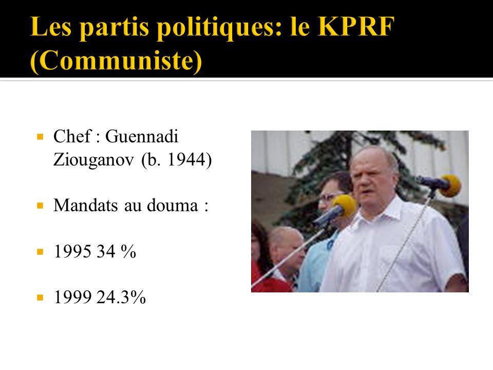 Chef : Guennadi Ziouganov (b. 1944) Mandats au douma : 1995 34 % 1999 24.3%