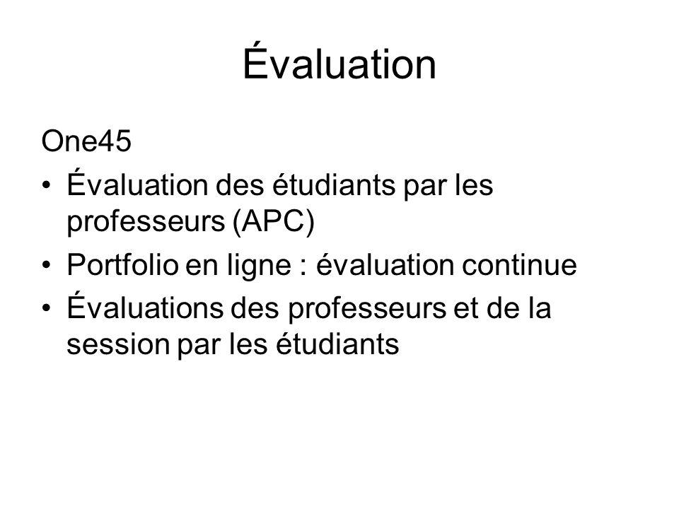 Évaluation One45 Évaluation des étudiants par les professeurs (APC) Portfolio en ligne : évaluation continue Évaluations des professeurs et de la session par les étudiants