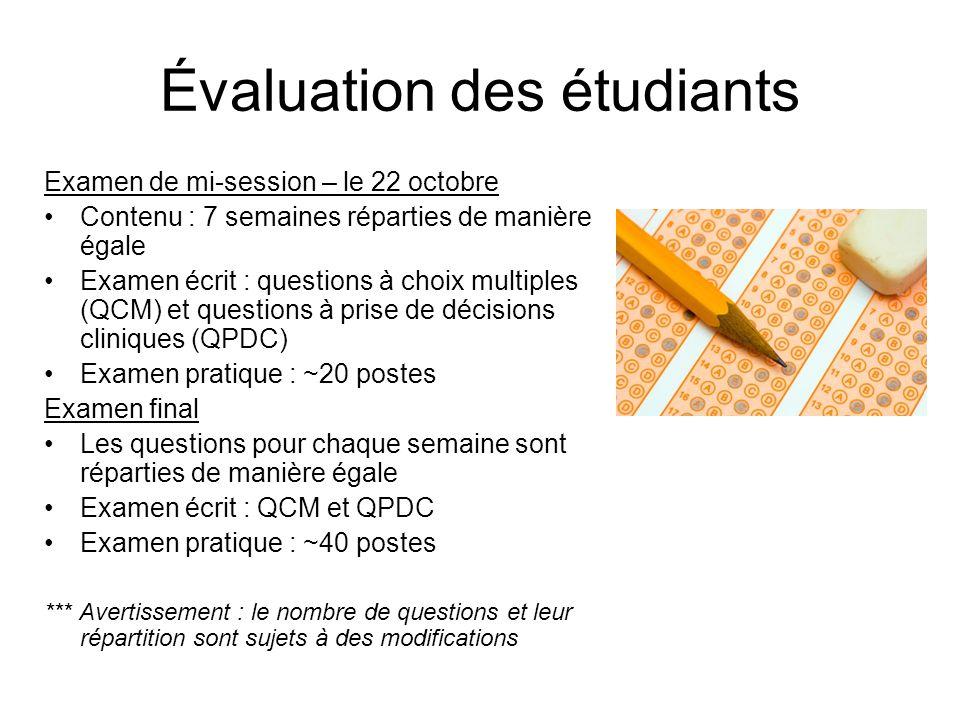 Évaluation des étudiants Examen de mi-session – le 22 octobre Contenu : 7 semaines réparties de manière égale Examen écrit : questions à choix multipl
