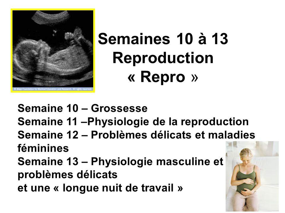 Semaines 10 à 13 Reproduction « Repro » Semaine 10 – Grossesse Semaine 11 –Physiologie de la reproduction Semaine 12 – Problèmes délicats et maladies