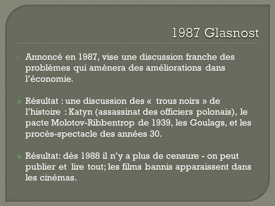 On annonce la « réhabilitation » des victimes de Staline octobre Eltsine dénonce Gorbatchev, quitte le Politburo