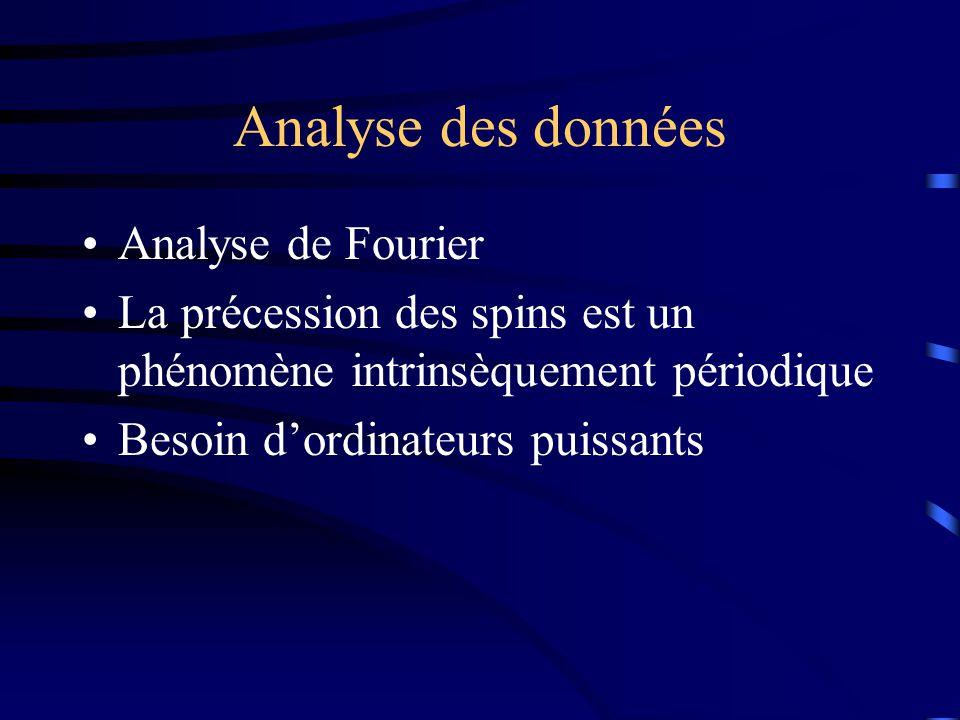Analyse des données Analyse de Fourier La précession des spins est un phénomène intrinsèquement périodique Besoin dordinateurs puissants