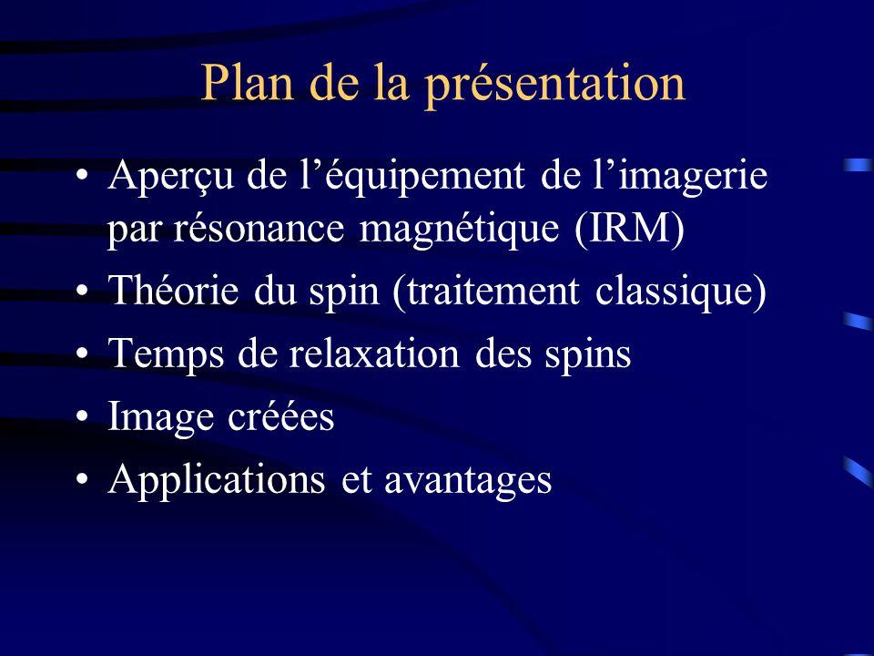 Plan de la présentation Aperçu de léquipement de limagerie par résonance magnétique (IRM) Théorie du spin (traitement classique) Temps de relaxation d