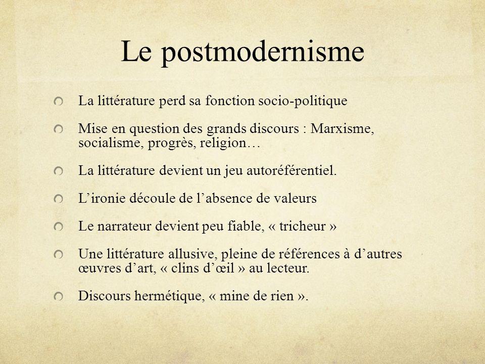 Le postmodernisme La littérature perd sa fonction socio-politique Mise en question des grands discours : Marxisme, socialisme, progrès, religion… La l