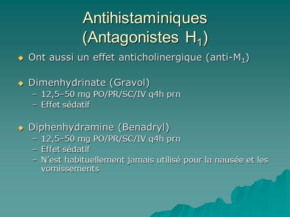 Antihistaminiques (Antagonistes H 1 ) Ont aussi un effet anticholinergique (anti-M 1 ) Ont aussi un effet anticholinergique (anti-M 1 ) Dimenhydrinate (Gravol) Dimenhydrinate (Gravol) –12,5–50 mg PO/PR/SC/IV q4h prn –Effet sédatif Diphenhydramine (Benadryl) Diphenhydramine (Benadryl) –12,5–50 mg PO/PR/SC/IV q4h prn –Effet sédatif –Nest habituellement jamais utilisé pour la nausée et les vomissements