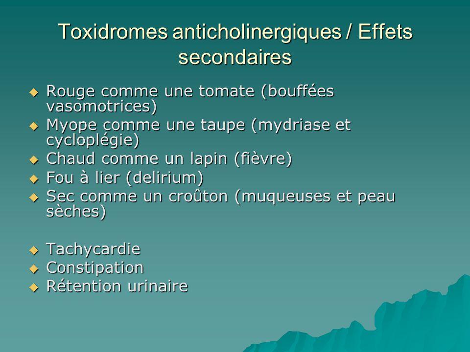 Toxidromes anticholinergiques / Effets secondaires Rouge comme une tomate (bouffées vasomotrices) Rouge comme une tomate (bouffées vasomotrices) Myope comme une taupe (mydriase et cycloplégie) Myope comme une taupe (mydriase et cycloplégie) Chaud comme un lapin (fièvre) Chaud comme un lapin (fièvre) Fou à lier (delirium) Fou à lier (delirium) Sec comme un croûton (muqueuses et peau sèches) Sec comme un croûton (muqueuses et peau sèches) Tachycardie Tachycardie Constipation Constipation Rétention urinaire Rétention urinaire