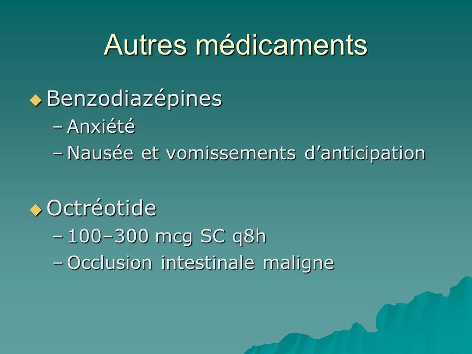 Autres médicaments Benzodiazépines Benzodiazépines –Anxiété –Nausée et vomissements danticipation Octréotide Octréotide –100–300 mcg SC q8h –Occlusion intestinale maligne