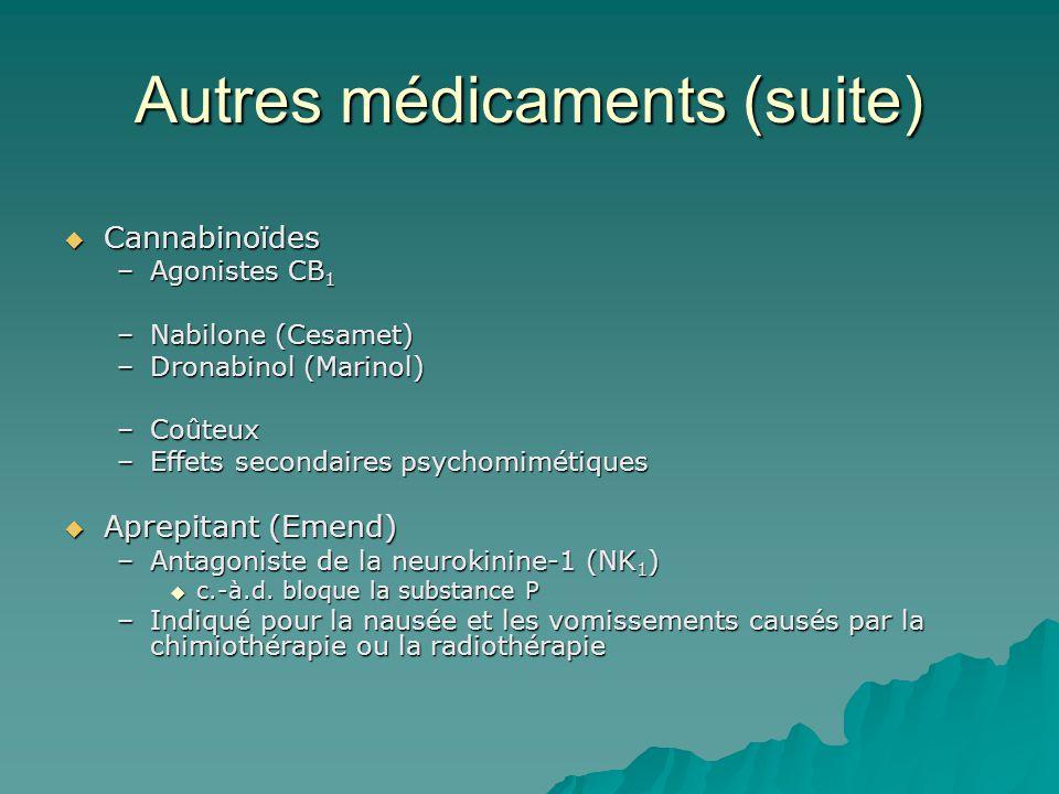Autres médicaments (suite) Cannabinoïdes Cannabinoïdes –Agonistes CB 1 –Nabilone (Cesamet) –Dronabinol (Marinol) –Coûteux –Effets secondaires psychomimétiques Aprepitant (Emend) Aprepitant (Emend) –Antagoniste de la neurokinine-1 (NK 1 ) c.-à.d.