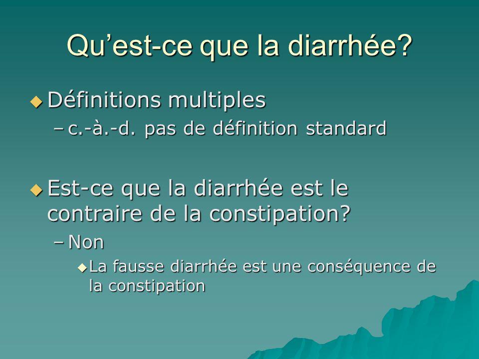 Quest-ce que la diarrhée.Définitions multiples Définitions multiples –c.-à.-d.