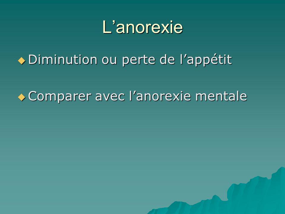 Lanorexie Diminution ou perte de lappétit Diminution ou perte de lappétit Comparer avec lanorexie mentale Comparer avec lanorexie mentale