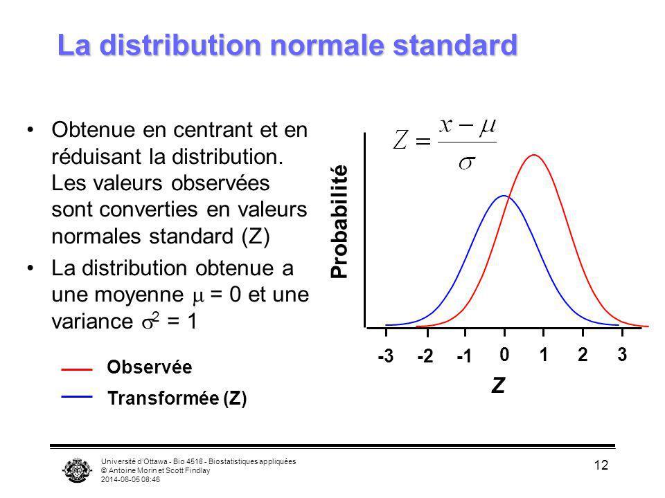 Université dOttawa - Bio 4518 - Biostatistiques appliquées © Antoine Morin et Scott Findlay 2014-06-05 08:47 12 La distribution normale standard Obten