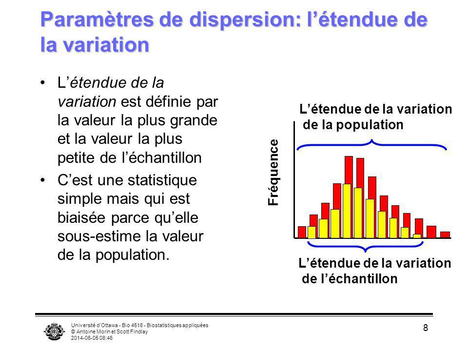 Université dOttawa - Bio 4518 - Biostatistiques appliquées © Antoine Morin et Scott Findlay 2014-06-05 08:47 9 Dispersion Trois distributions de fréquences avec la même moyenne et taille déchantillon mais dont les patrons de dispersion sont différents.