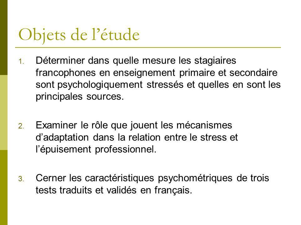 Objets de létude Déterminer dans quelle mesure les stagiaires francophones en enseignement primaire et secondaire sont psychologiquement stressés et q