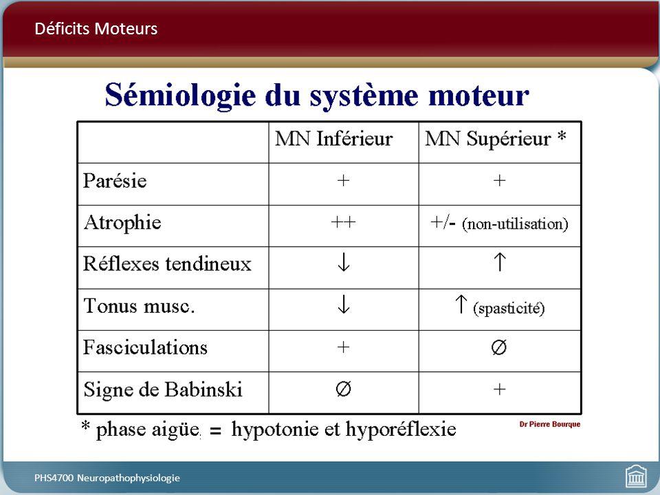 Déficits Moteurs PHS4700 Neuropathophysiologie