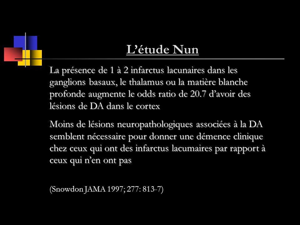 Létude Nun La présence de 1 à 2 infarctus lacunaires dans les ganglions basaux, le thalamus ou la matière blanche profonde augmente le odds ratio de 2