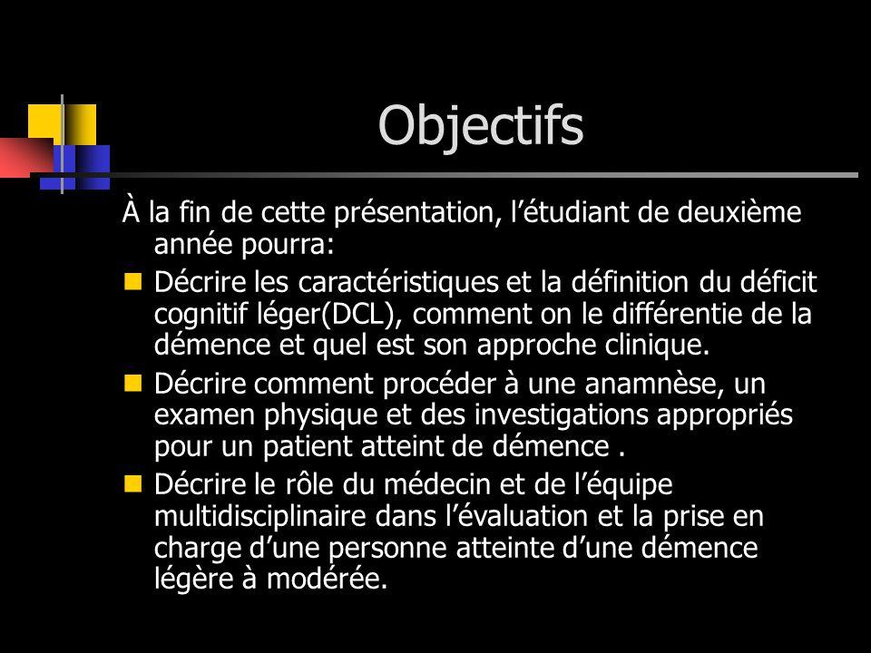 Objectifs À la fin de cette présentation, létudiant de deuxième année pourra: Décrire les caractéristiques et la définition du déficit cognitif léger(