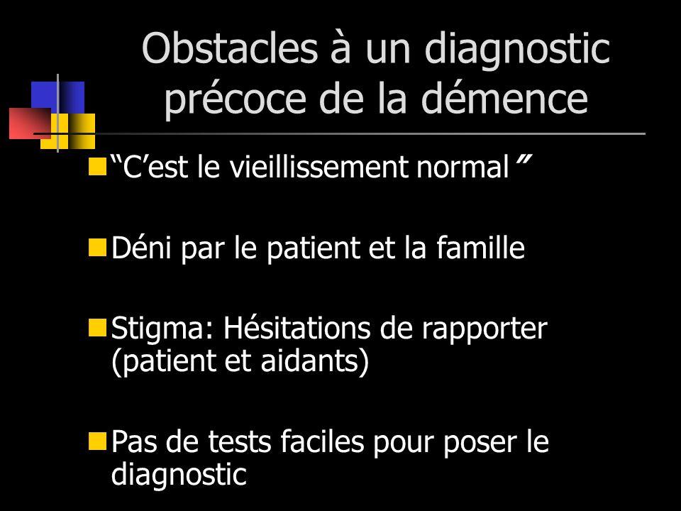 Obstacles à un diagnostic précoce de la démence Cest le vieillissement normal Déni par le patient et la famille Stigma: Hésitations de rapporter (pati