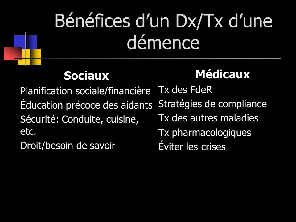 Bénéfices dun Dx/Tx dune démence Sociaux Planification sociale/financière Éducation précoce des aidants Sécurité: Conduite, cuisine, etc. Droit/besoin