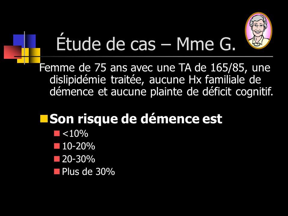 Étude de cas – Mme G. Femme de 75 ans avec une TA de 165/85, une dislipidémie traitée, aucune Hx familiale de démence et aucune plainte de déficit cog