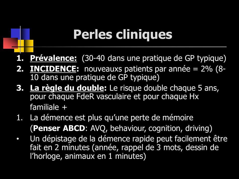 Perles cliniques 1.Prévalence: (30-40 dans une pratique de GP typique) 2.INCIDENCE: nouveauxs patients par année = 2% (8- 10 dans une pratique de GP t