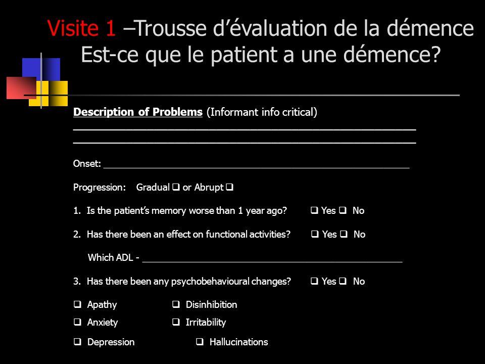 Visite 1 –Trousse dévaluation de la démence Est-ce que le patient a une démence? Description of Problems (Informant info critical) ___________________