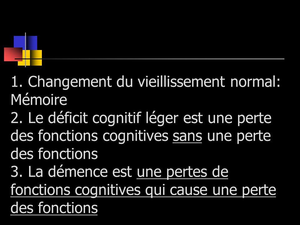 1. Changement du vieillissement normal: Mémoire 2. Le déficit cognitif léger est une perte des fonctions cognitives sans une perte des fonctions 3. La