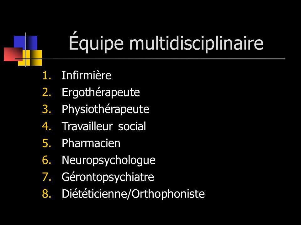 Équipe multidisciplinaire 1.Infirmière 2.Ergothérapeute 3.Physiothérapeute 4.Travailleur social 5.Pharmacien 6.Neuropsychologue 7.Gérontopsychiatre 8.