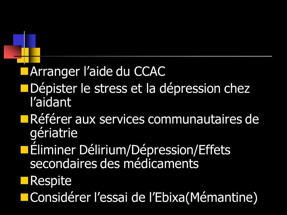 Arranger laide du CCAC Dépister le stress et la dépression chez laidant Référer aux services communautaires de gériatrie Éliminer Délirium/Dépression/