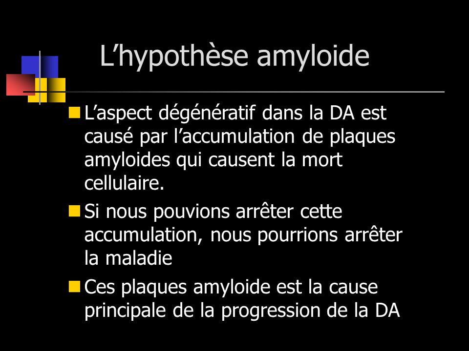 Lhypothèse amyloide Laspect dégénératif dans la DA est causé par laccumulation de plaques amyloides qui causent la mort cellulaire. Si nous pouvions a