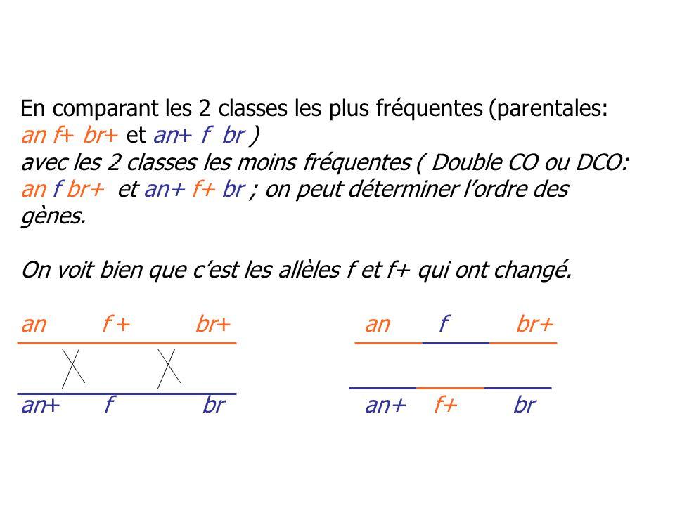 Calcul des distances: D (an-f): (88 + 55 + 2 + 2)/879 = 0.1672 = 16.72% Càd 16.72 cM D (f-br): (2 + 17 + 2 + 2)/879 = 0.0478 = 4.78% Càd 4.78 cM anfbr 16.72 cM4.78 cM c.