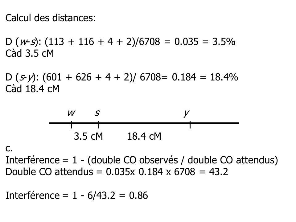 Calcul des distances: D (w-s): (113 + 116 + 4 + 2)/6708 = 0.035 = 3.5% Càd 3.5 cM D (s-y): (601 + 626 + 4 + 2)/ 6708= 0.184 = 18.4% Càd 18.4 cM wsy 3.