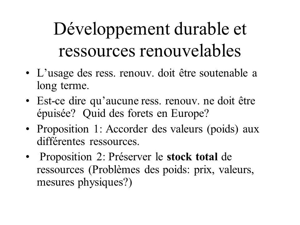 Développement durable et ressources renouvelables Lusage des ress. renouv. doit être soutenable a long terme. Est-ce dire quaucune ress. renouv. ne do