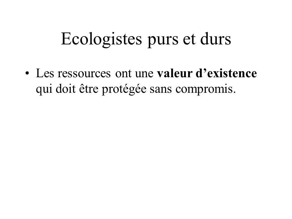 Ecologistes purs et durs Les ressources ont une valeur dexistence qui doit être protégée sans compromis.