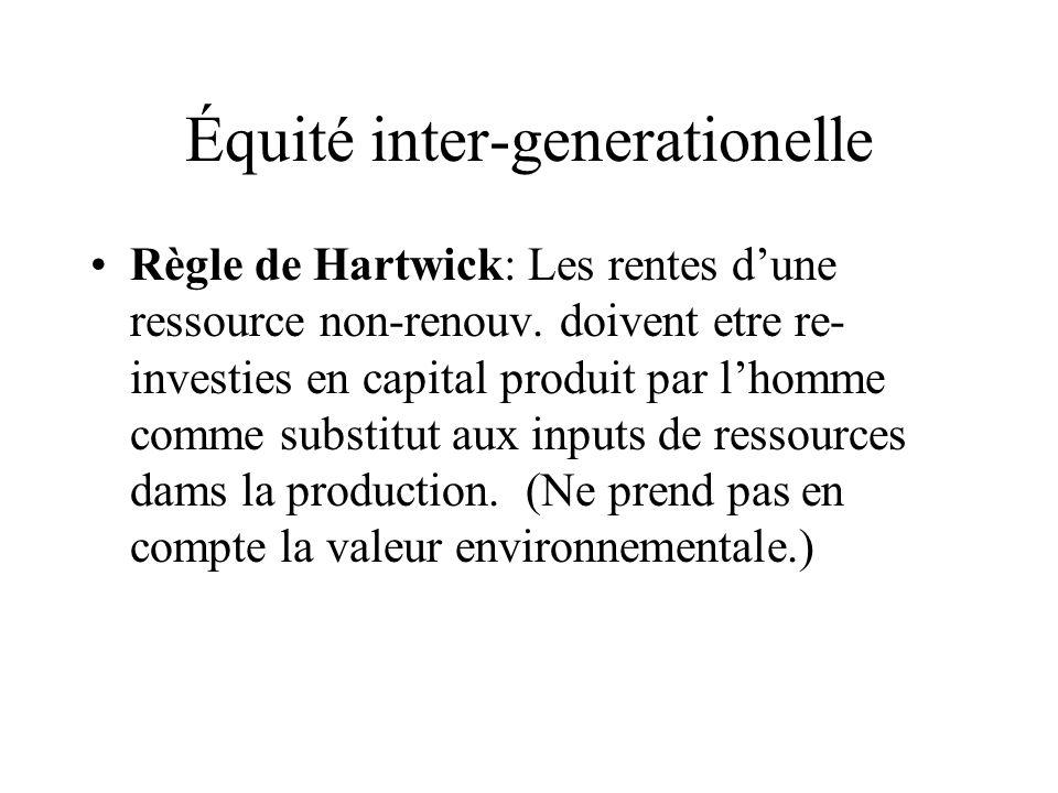 Équité inter-generationelle Règle de Hartwick: Les rentes dune ressource non-renouv. doivent etre re- investies en capital produit par lhomme comme su