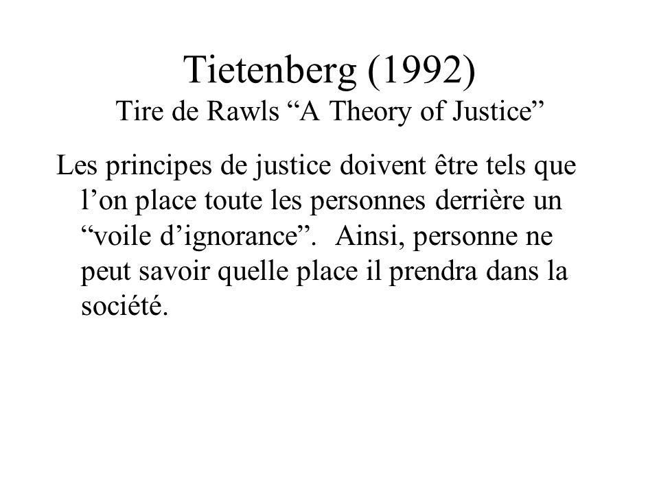 Tietenberg (1992) Tire de Rawls A Theory of Justice Les principes de justice doivent être tels que lon place toute les personnes derrière un voile dignorance.