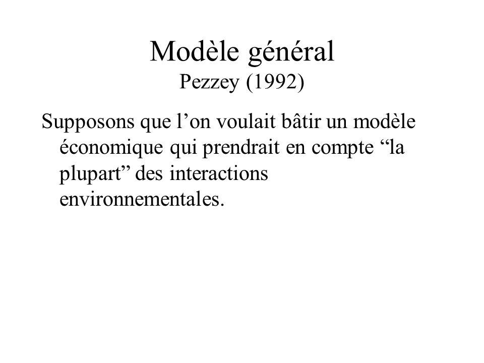 Modèle général Pezzey (1992) Supposons que lon voulait bâtir un modèle économique qui prendrait en compte la plupart des interactions environnementale